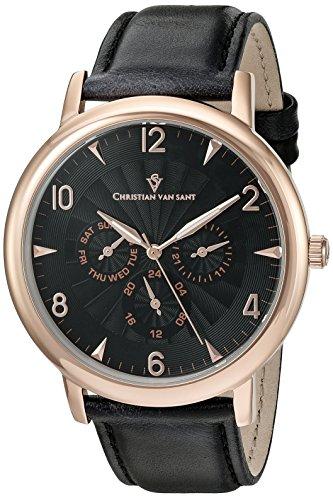 Christian Van Sant Men's Quartz Stainless Steel Casual Watch, Color:Black (Model: CV3515)