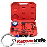 Biltek 0-100 PSI Fuel Injection Pump Injector Tester Test Pressure Gauge Gasoline Cars + KapscoMoto Keychain
