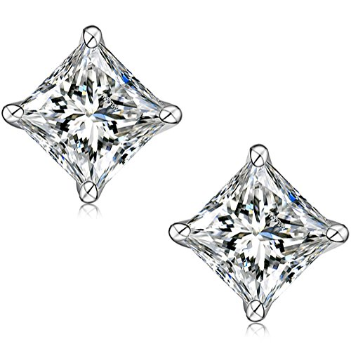 AllenCOCO Sterling silver Rhodium Plated Princess Cut Swarovski Simulated Diamond CZ Stud - Real Glasses Fake Looking