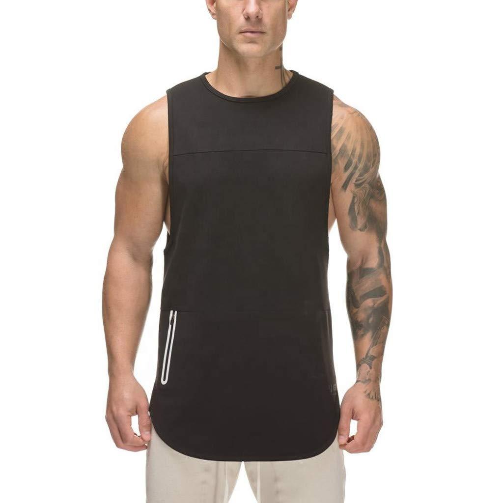 Men Tank Top Pure Color Sports Vest Zipper Slim Vest Muscle Sleeveless T— Shirt Undershirts