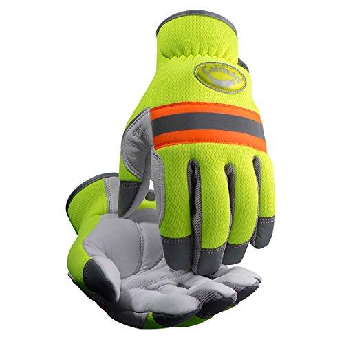 (Caiman 2908-5 White Sheep Grain Hi-Vis Reflective Gloves, Large,)