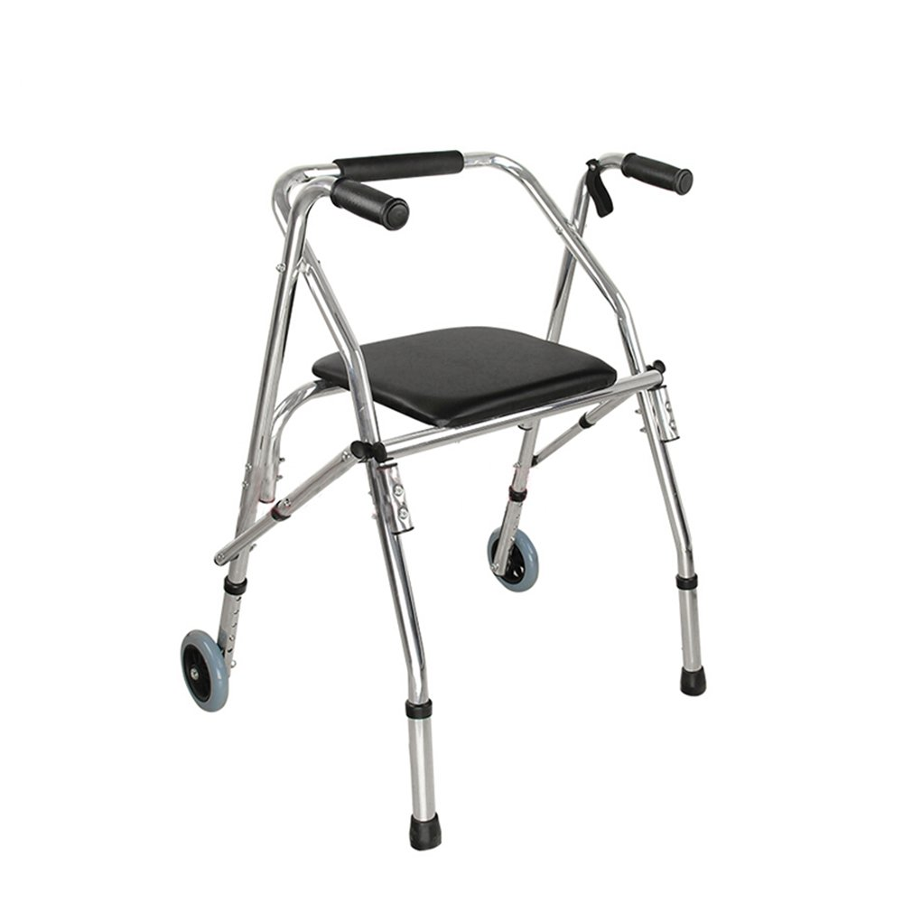 XIHAA Tragbare Walker Hilfe Behinderte Ältere Einstellbare Faltbare Rutschfeste Fuß Pad Walking Rehabilitation Ausrüstung Bad Bad Stuhl (Dual Fahrbare)