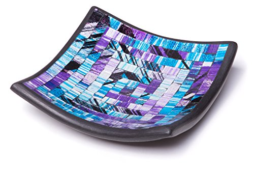 Blue Square Accent Plate (Glass Mosaic Square Accent Plate Platter Decorative Catch-All Tray Dish Centerpiece Bowl - 6