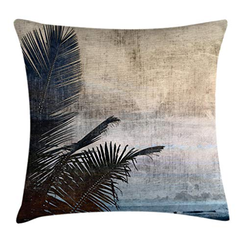 (Ambesonne Hawaiian Throw Pillow Cushion Cover, Palm Tree Leaves on Grunge Background with Sea Vintage Waterscape Illustration, Decorative Square Accent Pillow Case, 18 X 18 Inches, Beige Navy)