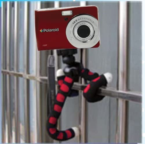 Polaroid 12 Flexible Tripod With Protective Grip-Foam Coating For Digital Cameras /& Camcorders Red