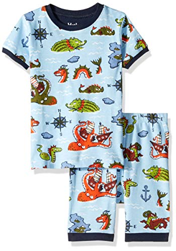 Hatley Boys' Little Organic Cotton Short Sleeve Printed Pajama Set, Sea Monsters, 6 Years