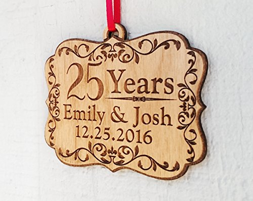 Personalized Anniversary Wood Ornament 25, 50, 60, 70 Years Togetherness of Marriage, Engagement 1 Year Married, Husband Wife, Couples Christmas Gift by Custom-Engraved-Glasses-by-StockingFactory (Image #2)