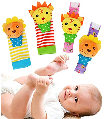 (aimibaby Baby Wrist Rattle Toys Socks - Infant Wrist Rattles and Foot Finder Set, Toddler Early Educational Development Soft Animal Toy for Boys and Girls 4 Pack)