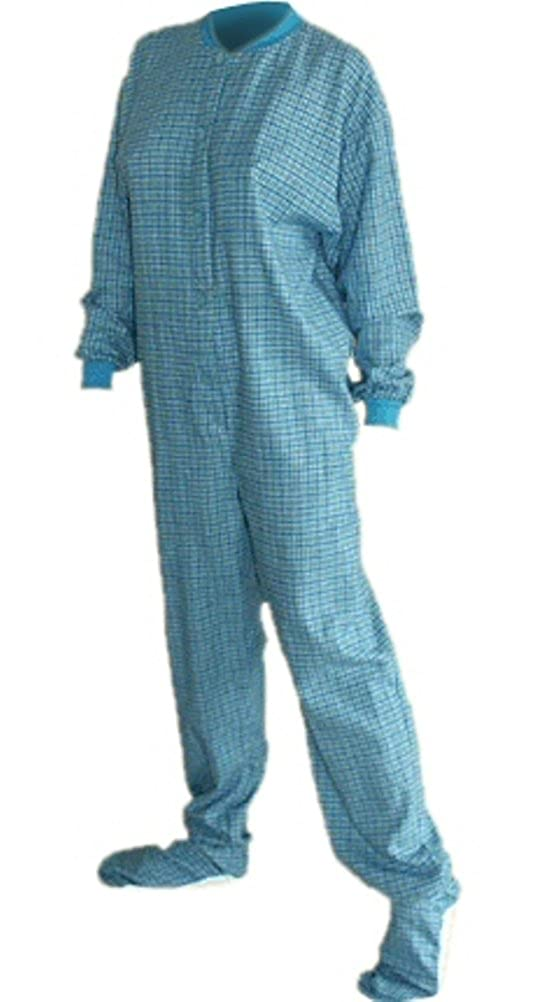 41b168c41036 Amazon.com  Big Feet PJs Turquoise Plaid Cotton Flannel Adult Footed ...