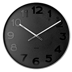 Wall clock Mr. Black numbers steel polished