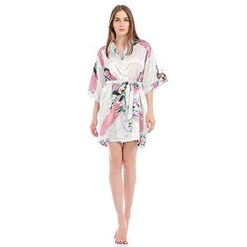 Bata Kimono Floral,Bata Corta Vestido de Satén Albornoces Personalizados Mujeres Bata de Seda Dama de Honor Pijamas Lencería para niñas,White-L: Amazon.es: ...