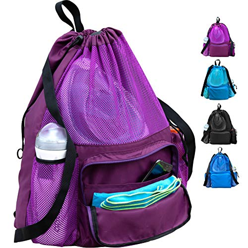 ButterFox Large Swimming Equipment Mesh Bag with Separated Waterproof Dry Compartment, Dry and Wet Separated (Purple)