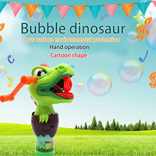 ✅Hand Held Bubble Machine Dinosaur Manually Rotating Continuous Bubble-Pressing Bubble Maker Blower Toy for Kids Summer…