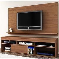 Rack com Painel para TV até 55 polegadas 1 Porta de Correr Madri Moderno Siena Móveis Amendoa