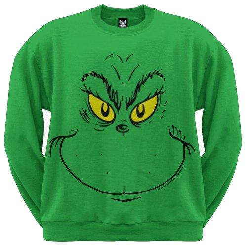 Dr. Seuss - Grinch Face Crew Sweatshirt - Medium (Grinch Sweaters)