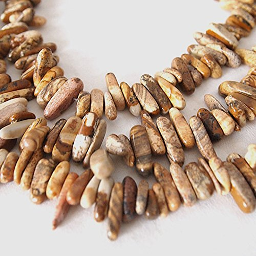 jennysun2010 Natural Pictur Jasper Gemstones Freeformed Stick Beads 16 Inches 1 Strand For Bracelet or Necklace Making