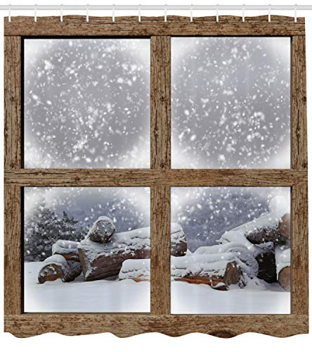 Ambesonne Winter Shower Curtain, Rustic Snowy Woodsy Frame Window View Print Mountain House Cold Christmas Day, Cloth Fabric Bathroom Decor Set with Hooks, 70 Long, White Khaki