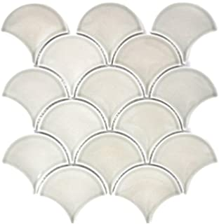 13-FSW18/_f 10 Matten Mosaik Fliese Keramik Fächer petrol glänzend Welle Bad