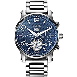 TSS Men's Automatic Skeleton Watch Stainless Steel Band T8031C2
