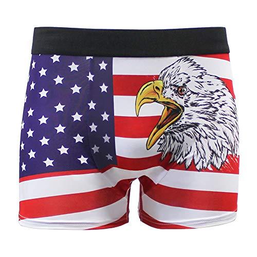 (Men Funny Underwear Boxer Brief American Flag Sexy Underwear Underpant Medium Novelty Gift)