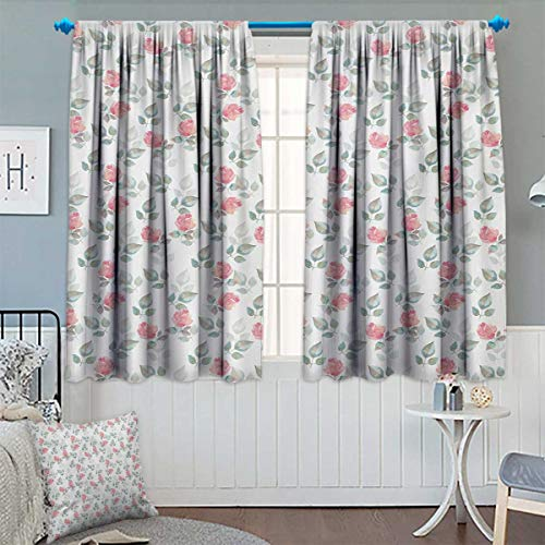Chaneyhouse Floral Window Curtain Drape Rose Petals Blossoms Romantic Plants Wedding Love Hazy Watercolor Print Decorative Curtains for Living Room 55