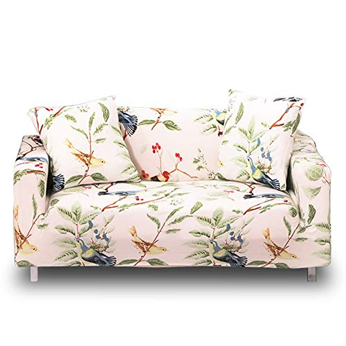 HOTNIU 1-Piece Stretch Sofa Couch Covers - Spandex Printed Loveseat Couch Slipcovers - Armchair Furniture Cover/Protector with Elastic Bottom and Straps, Anti-Slip Foams (Sofa, Pattern #16)