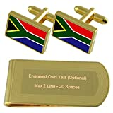 South Africa Flag Gold-tone Cufflinks Money Clip Engraved Gift Set