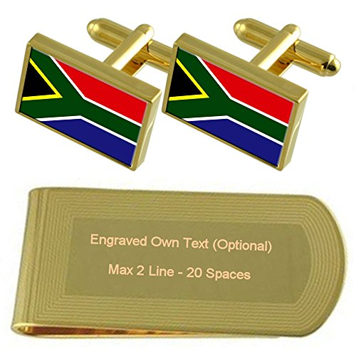 Gold Cufflinks Gift Money Engraved Africa tone Set Clip South Flag IBZUqxEI