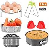 MISSALIS Instant Pot Accessories Set 9 Pcs, Pressure Cooker Accessories Fit Instant Pot 5, 6, 8Qt, Steamer Basket, Egg Steamer Rack, Non-stick Springform Pan, Steaming Stand, Silicone Cooking Pot Mitt