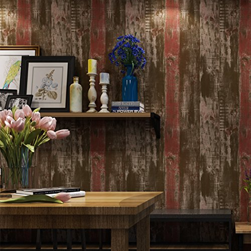 Glow4u Peel and Stick Vintage Wood Plank Wallpaper Roll Self Adhesive Contact Paper for Bedroom Kitchen Walls Arts Decor (Red, 20.83 Inches by 9.8 Feet)