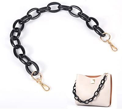 Xiazw Short Thick Resin Purse Bag Handle Shoulder Strap Replacement,Handbag Decoration Chain,Bag Accessories Charms Black with Gold Buckle