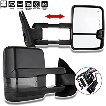 scitoo towing mirrors compatible fit for 2007-2014 chevy gmc silverado  suburban towing door side mirrors pair set mirrors (07-14 power heated  signal