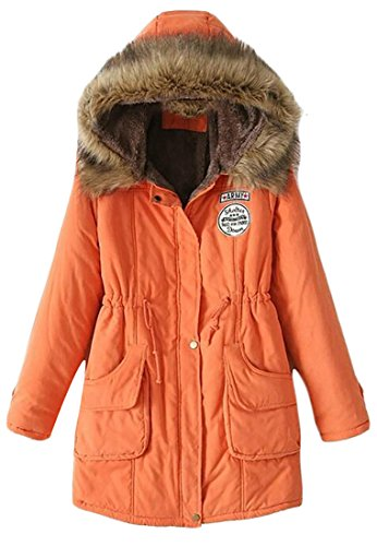 Womens M Outdoor Warm Fur Parkas amp;W amp;S Faux Trim Winter Hooded Coats Orange PUrnUEwTx