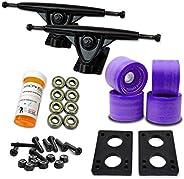 YOCAHER 071-Solid Wheel- Longboard Skateboard Trucks Combo Set with 70mm Wheels Plus 9.675-Inch Polished/Black