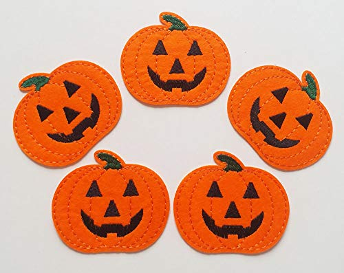 7.3x6.2cm 10pcs Jack o lantern Halloween Pumpkin Iron On Felt Embroidered Patches Appliques Machine Embroidery Crafts projects