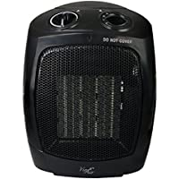 Vie Air Portable 3-Settings Ceramic Heater with Adjustable Thermostat, 1500W, Black