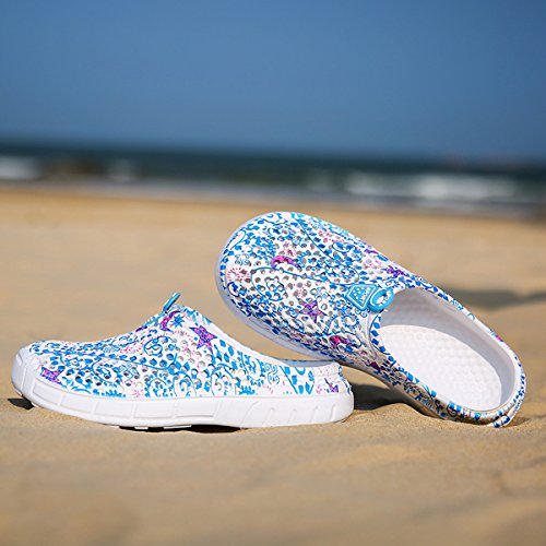 WLLH Women Mesh Summer Breathable Slippers Beach Garden Clog Sandals Shower Footwear Water Shoes Walking Anti-Slip Shoes Blue Star Af1sikNiA