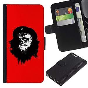 Planetar® Modelo colorido cuero carpeta tirón caso cubierta piel Holster Funda protección Para Apple (5.5 inches!!!) iPhone 6+ Plus ( Che Guevara Caricatura Arte de la pintura del hombre del mono )