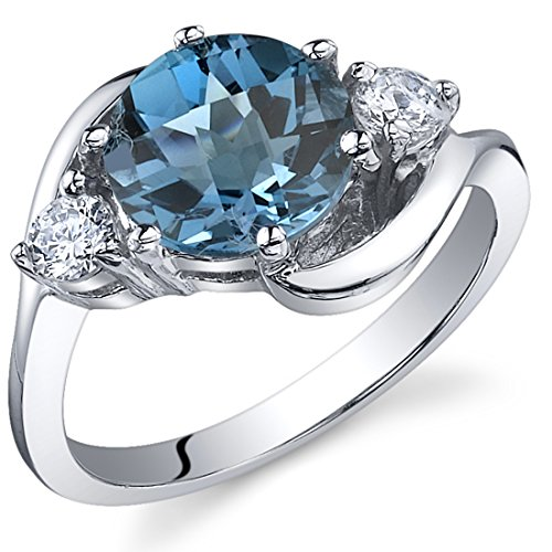 Large Blue Topaz Ring - 3 Stone Design 2.25 carats London Blue Topaz Ring in Sterling Silver Rhodium Nickel Finish Size 6