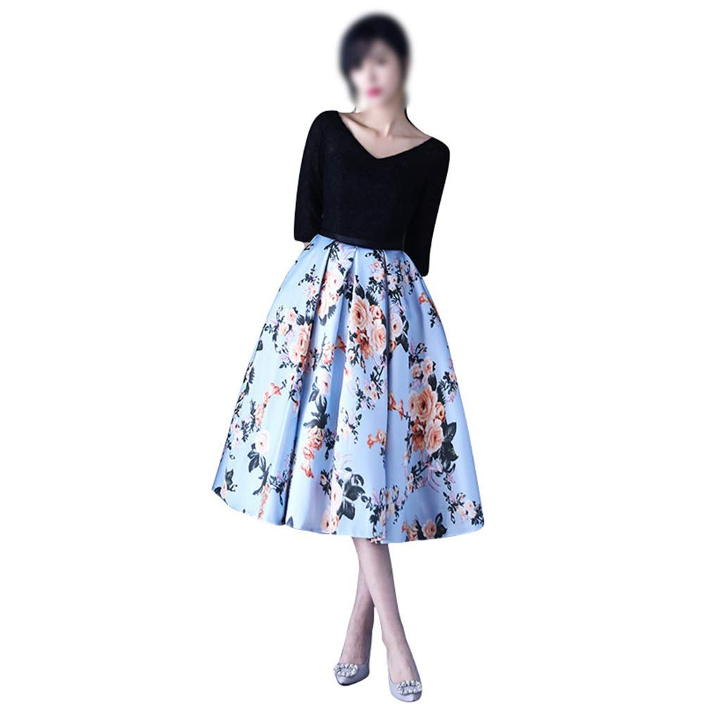 color Kirabon Spring Women Fashion VNeck Short Sleeves Flowers Aline Dress Casual Formal Dress (color   color, Size   M)