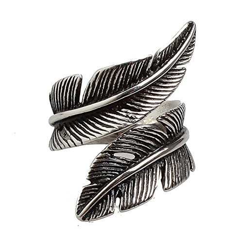 Chryssa Youree Stainless Steel Rings for Men Women Biker Gothic Band Ring Vintage Feather Jewelry Size 7-12 (DJZ-037) (Size 7)