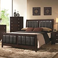 Coaster Carlton 202091KW California King Size Panel Bed with Black Padded Leatherette Tapered Legs Solid Wood and Veneers Construction in Cappuccino