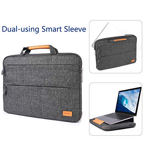 WIWU 15.4 Inch Laptop Sleeve Case Protective Waterproof Bag Carrying Case Handbag with Stand Function 2 in 1 Gray