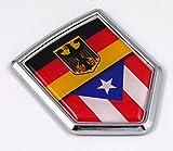 Germany Puerto Rico German Rican Flag Car Chrome