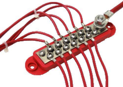 "Red 4350442249 Bay Marine Supply BusBar 12-Point Power Distribution Block #8 Terminal Screws /& 1//4/"" Stud"