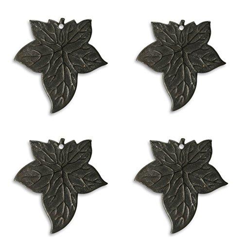 Four (4) Vintaj Ancient Leaf Black Arte Metal Pendant, AP0020 - 31.5x30.5mm Jewelry, Scrapbook