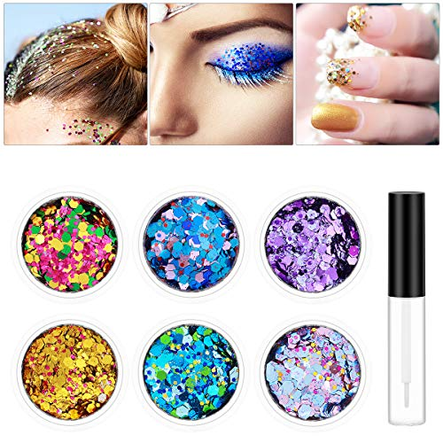 PartyKindom Body Glitter 6 Colors Chunky Glitter with Long Lasting Gel for Festival Party Face, Body, Hair and Nails Art - 6 Boxes