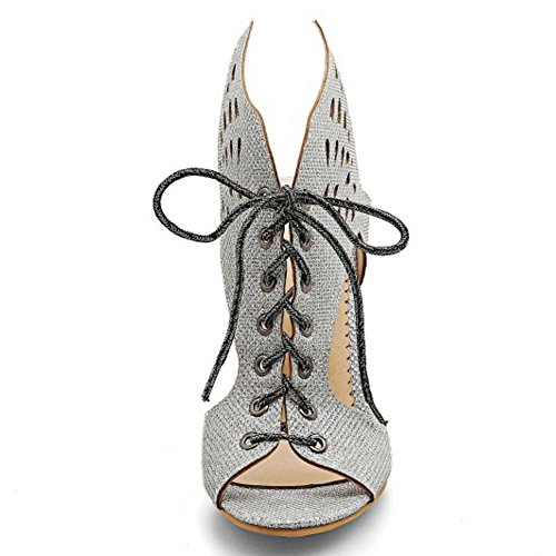Women Silver Summer Classic TAOFFEN Back Lace Outs High Cut Open Sandals Heels Party pdw7wqf