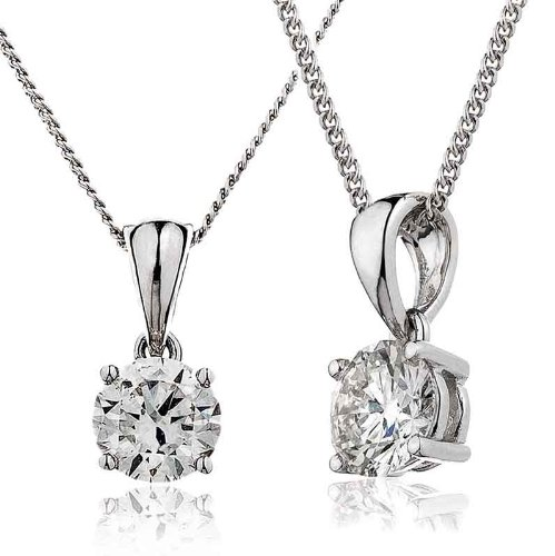 0.10CT Certified G/VS2 Round Brilliant Cut Claw Set Solitaire Diamond Pendant in 18K White Gold