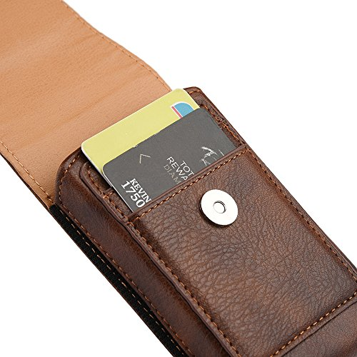 fffee7bf3a91 Jual Brown Leather Belt Clip Holster Case w/ 2 Credit Cards Slot for ...